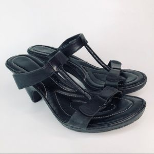 Born Black Leather Strappy heel Sandal Size 9